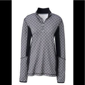 NWT LANDS END 1/2 ZIP SILVER FROST GEO PRINT, L